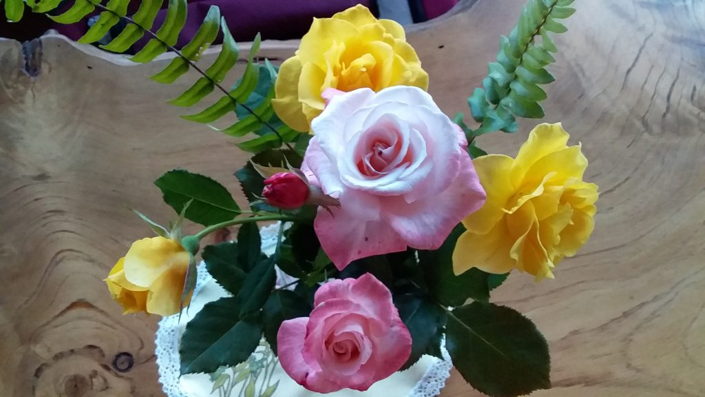Bunch of roses and ferns