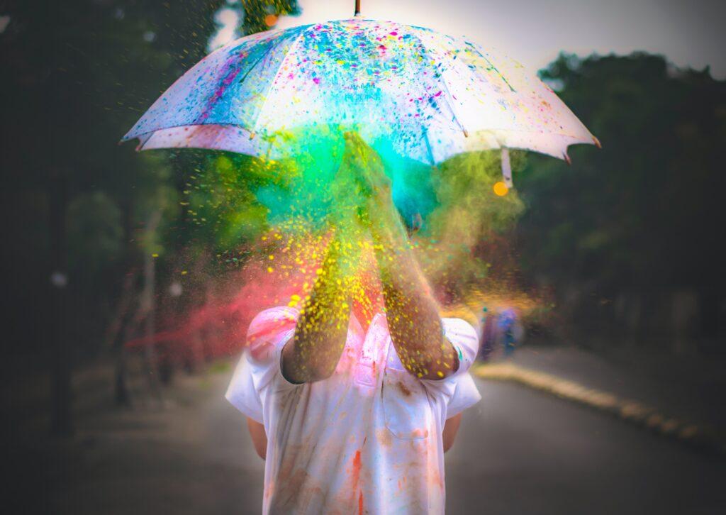colour paint splash on umbrella